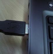 Plug USB half way